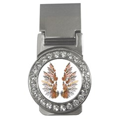 Brown Feather Wing Money Clip With Gemstones (round)