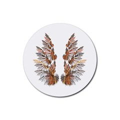 Brown Feather Wing Rubber Drinks Coaster (round)