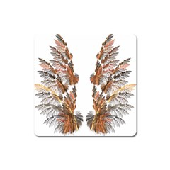 Brown Feather wing Large Sticker Magnet (Square)