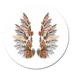 Brown Feather Wing Extra Large Sticker Magnet (round)