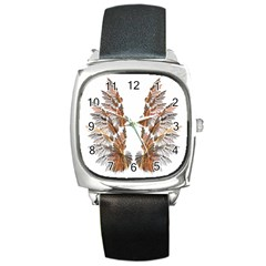 Brown Feather Wing Black Leather Watch (square)
