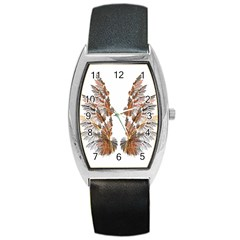 Brown Feather wing Black Leather Watch (Tonneau)