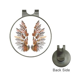 Brown Feather wing Hat Clip with Golf Ball Marker