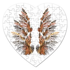 Brown Feather wing Jigsaw Puzzle (Heart)