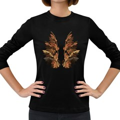 Brown Feather wing Dark Colored Long Sleeve Womens'' T-shirt