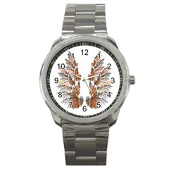 Brown Feather Wing Stainless Steel Sports Watch (round)
