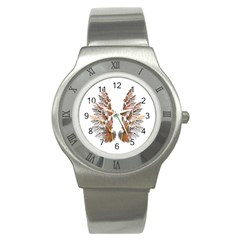 Brown Feather Wing Stainless Steel Watch (round)
