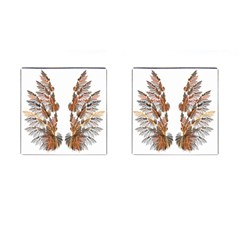 Brown Feather wing Square Cuff Links