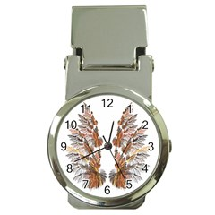Brown Feather Wing Chrome Money Clip With Watch