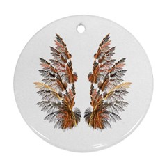 Brown Feather Wing Twin Sided Ceramic Ornament (round)