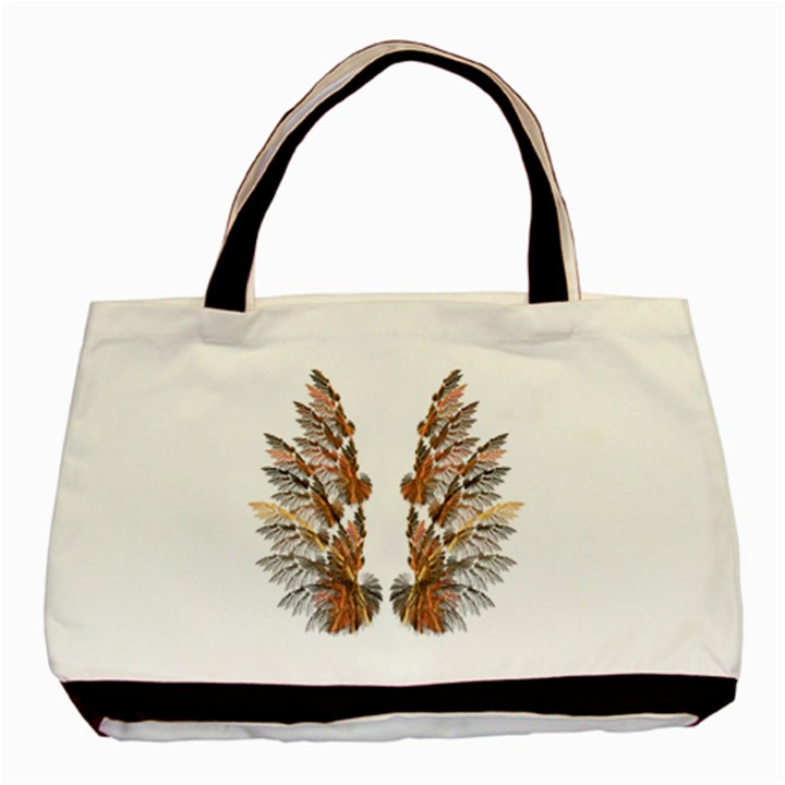 Brown Feather wing Twin-sided Black Tote Bag