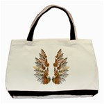 Brown Feather wing Twin-sided Black Tote Bag Back