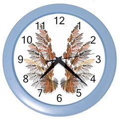 Brown Feather Wing Colored Wall Clock