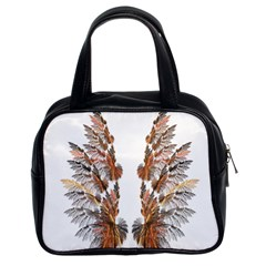 Brown Feather Wing Twin Sided Satched Handbag