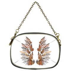 Brown Feather Wing Single Sided Evening Purse