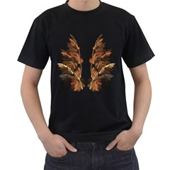 Brown Feather wing Black Mens'' T-shirt
