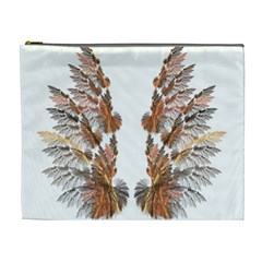 Brown Feather Wing Extra Large Makeup Purse