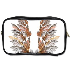 Brown Feather Wing Twin Sided Personal Care Bag