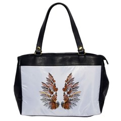 Brown Feather wing Single-sided Oversized Handbag