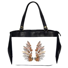 Brown Feather Wing Twin Sided Oversized Handbag