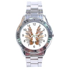 Brown Feather wing Stainless Steel Analogue Watch (Round)