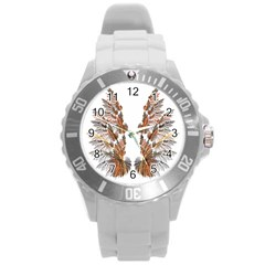 Brown Feather Wing Round Plastic Sport Watch Large