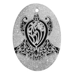 Diamond Bling Lion Ceramic Ornament (oval)