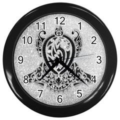 Diamond Bling Lion Black Wall Clock