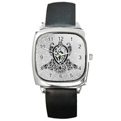 Diamond Bling Lion Black Leather Watch (Square)