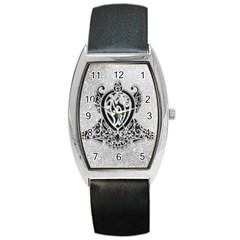 Diamond Bling Lion Black Leather Watch (Tonneau)