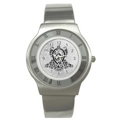 Diamond Bling Lion Stainless Steel Watch (round)