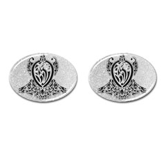 Diamond Bling Lion Oval Cuff Links