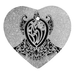 Diamond Bling Lion Heart Ornament (two Sides)