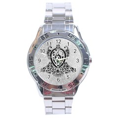 Diamond Bling Lion Stainless Steel Analogue Watch (round)