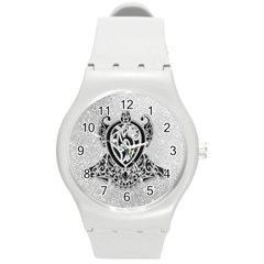Diamond Bling Lion Round Plastic Sport Watch Medium