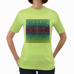 Rainbow Of Colors, Bling And Glitter Green Womens  T Shirt