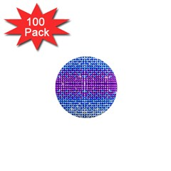 Rainbow Of Colors, Bling And Glitter 100 Pack Mini Magnet (round)