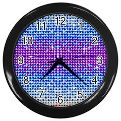 Rainbow Of Colors, Bling And Glitter Black Wall Clock