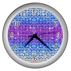 Rainbow of Colors, Bling and Glitter Silver Wall Clock