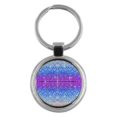 Rainbow of Colors, Bling and Glitter Key Chain (Round)
