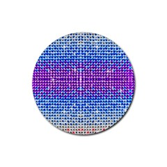 Rainbow of Colors, Bling and Glitter Rubber Drinks Coaster (Round)