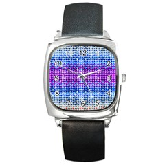 Rainbow of Colors, Bling and Glitter Black Leather Watch (Square)
