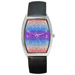 Rainbow of Colors, Bling and Glitter Black Leather Watch (Tonneau)