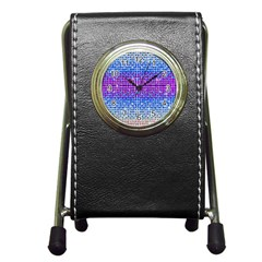 Rainbow Of Colors, Bling And Glitter Stationery Holder Clock
