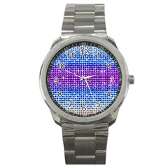 Rainbow Of Colors, Bling And Glitter Stainless Steel Sports Watch (round)