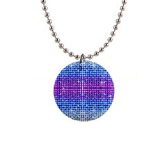 Rainbow Of Colors, Bling And Glitter Mini Button Necklace