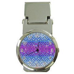 Rainbow of Colors, Bling and Glitter Chrome Money Clip with Watch