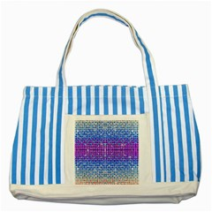 Rainbow Of Colors, Bling And Glitter Blue Striped Tote Bag