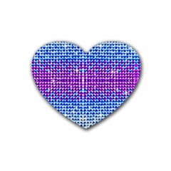 Rainbow of Colors, Bling and Glitter Rubber Drinks Coaster (Heart)