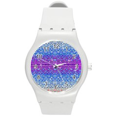 Rainbow Of Colors, Bling And Glitter Round Plastic Sport Watch Medium